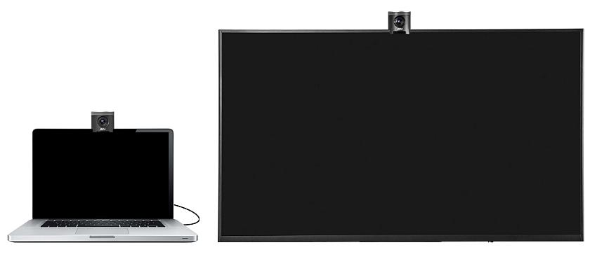 AVer Cam 340 montata su laptop e TV
